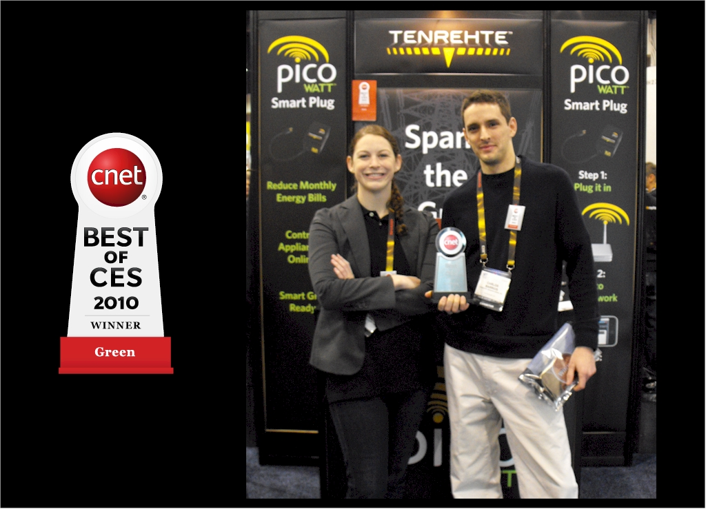 Jennifer Indovina and Carlos Barrios with Tenrehte PICOwatt® Smart Plug Best of CES 2010 Award
